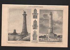 Lithografie 1898: Leuchttürme. Leucht-Turm in Eddystone Swinemünde