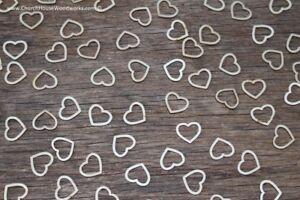 "100 qty 5/8"" Blank Hollow Heart Light Wood Hearts Table Confetti Wooden Shape"