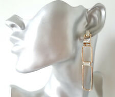 Gorgeous 8cm long gold tone & diamante - crystal geometric design drop earrings