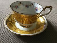 Vtg PARAGON Fine Bone China Gold & White Cup & Saucer Pembroke Design England