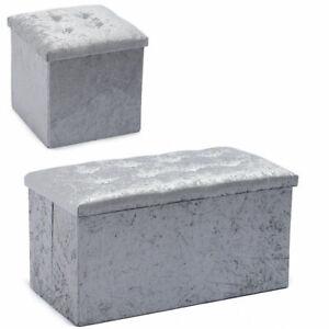 Crushed Velvet Diamante Storage Ottoman Seat Box Pouf fee Foot Stool Crush Cubed