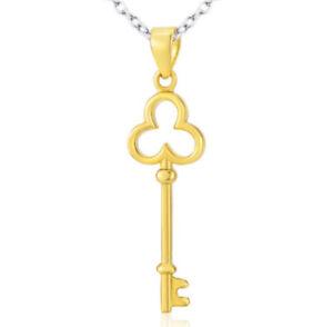 E11 Chiave Placcato Oro Ciondolo Con Collana IN Argento Sterling 925