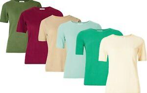 M&S Ladies Short Sleeve Jumper Womens Round Neck Cashmilon Soft Knit Sweater Top