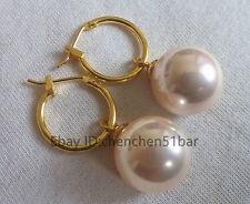 schönen 12mm rosa Muschel Perle Hochzeit Partei Schmuck Ohrringe
