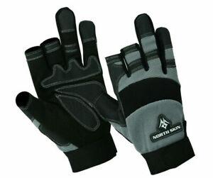 3 Half Finger Working Gloves Carpenter Builder Plumber Gloves