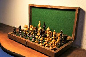 Antique chess set with board schachspiel alt holz mit brett vintage old