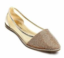 New Womens Diamante Sparkly Flat Heel Point Ballerina Pumps Shoes