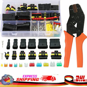 AMP Superseal Starter Steckverbinder 1-6-pol + Crimpzange Set Auto KFZ Motorrad