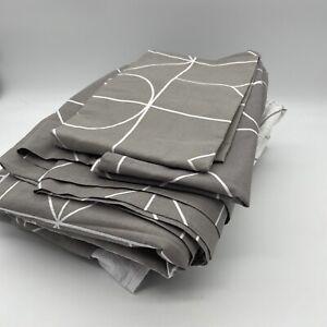 Vidmey 100% Washed Cotton Duvet Cover Set Single 5Pc Inc Sheets Grey Geometric