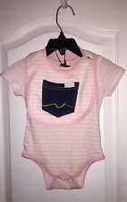NWT 7 For All Mankind Pink Baby Infant Girl's One-Piece Bib Outfit Set 6-9months