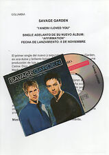 "SAVAGE GARDEN ""I KNEW I LOVED YOU"" RARE SPANISH PROMOCD SINGLE +PRESS INFO SHEET"