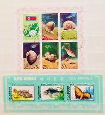 * SEA MARINE ANIMAL FISH SNAIL 2 SOUVENIR MINI SHEETS THEMATIC STAMPS 07220418 *