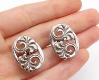 925 Sterling Silver - Vintage Oval Swirl Non Pierce Screw Back Earrings - E8695