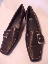 Stuart Weizman Square Toe Kitten Heels Black Leather Top Stitched w/ Buckle 7N