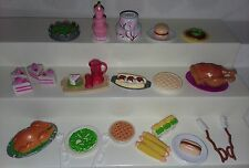 LOT OF BARBIE DOLL SIZED REAL LOOKING FOOD DIORAMA CAKES PIE TURKEY HOT DOG K