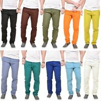 New Mens Kushiro City Slim Fit Twill Chino Straight Leg Trousers Cotton Pants