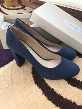 Brand New Ladies Clarks Blue Suede Shoes Size 6