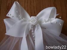 First Communion Veil attached  to a White Saitn Bow w/Rose Center New