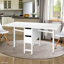 Foldable Gateleg Dining Table for 6 Persons 2 Storage Drawers Strong Durable
