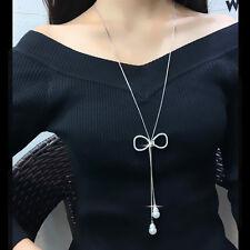 Hollow Fiocco Ciondolo Collana di perle con frange lunghe UK Venditore
