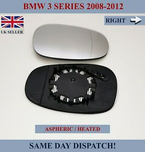 FITS BMW 3 SERIES 2008-2012 ASPHERIC HEATED WING MIRROR GLASS RIGHT / UK DRIVER