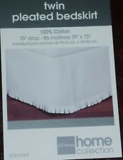 NEW Home Collection Twin Pleated Bedskirt Cotton White
