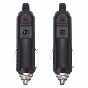 2 Pack 12V Male Cigarette Lighter Socket Plug Connector w/10A Fuse
