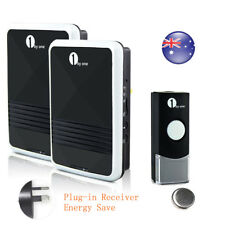 1byone LED 328ft Wireless Doorbell Chime Remote 2 AC 220V Receivers Waterproof