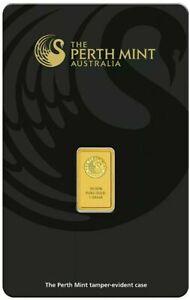 Perth Mint 1 GRAM Gold Swan Bar 99.99% 24 Carat Gold Bar Serial Numbered