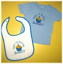 Personalized Cupcake First 1st Birthday Shirt and Bib Gift Set for Boy or Girl