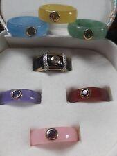 14K Ring w/ 7 Interchangeable Multi-colored JADEITE/Jade Bands w/ Stones-Sz-7.25