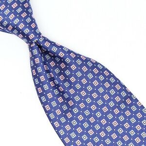 Brooks Brothers Mens Silk Necktie Royal Blue Pink Light Blue Check Woven Tie
