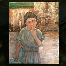 Vintage oil on canvas Portrait of a Little girl  with  water bucket spilling