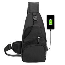 Men USB Charging Crossbody Messenger Chest Bag Shoulder Sling Bags Fanny Satchel Black