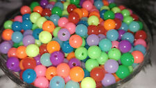 8MM Fluorescent Multi Color Acrylic Beads Round Spacer Loose Beads 50PCS. NEW