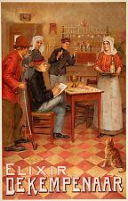 Original Vintage Poster Elixir de Kempenaar c1905 Belgian Liquor