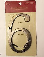 "5 in GATEHOUSE Door House Address Sign Street Number 6 Antique Brass 5"" 12.5 cm"