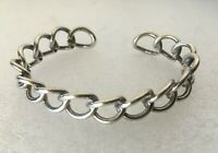 Vtg solid sterling silver 925 Chain Link fixed Cuff bangle 7.5 in. bracelet 20g