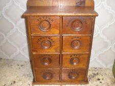 Vintage Apothecary Stenciled  8 Drawer Oak Spice Wall Cabinet