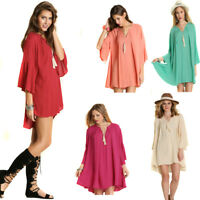 UMGEE Womens Boho Bohemian Vintage Chic Crepe Lace 3/4 Bell Sleeve Dress S M L