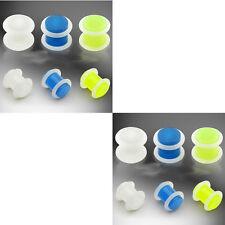 6 Pairs Glow in Dark Ear Plugs Set Lot Kit 00g 0g 2g 4g 6g 8g gauges men women