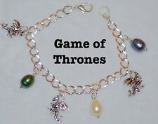 BG001 Game Of Thrones Charm Bracelet, Dragons, Dragon Eggs, Large Baroque Pearls