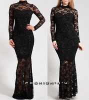 Black Floral Lace Mermaid Maxi Dress Long Sleeve Turtleneck Cocktail Gown