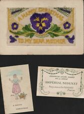 """Silk Pansies  """"Dear Mother"""" from George  20/12/1917  Boulogne   insert    QT1557"""