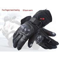 eklektisch beheizt Leder Motorrad Handschuhe+2 Batterien 8 Stunden Heizung Glove