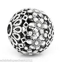 5 älter Silber Hohle Blumen Spacer Perlen Kugeln Beads 17mm D