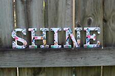 """GREAT AWARDS, GIFTS, OR DECOR 4""""x4""""x0.5"""" Block Letters that spell SHINE"""