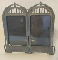Vintage double picture photo metal pewter frame art deco ornate West Germany
