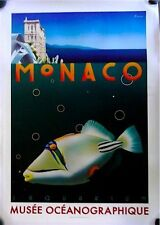 "Hand-Signed Vintage Razzia 'Monaco Aquarium"" Poster on Linen"