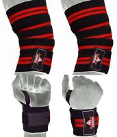 Weight Lifting Knee Wraps & Wrist Wraps support bandages gym training fitness